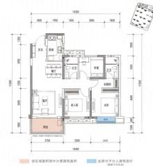 B户型, 3室2厅2卫1厨, 建筑面积约109.00平米