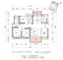 D户型, 4室2厅2卫1厨, 建筑面积约130.00平米